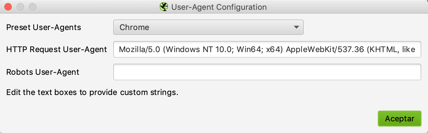 Configuración de user agent en Screaming Frog