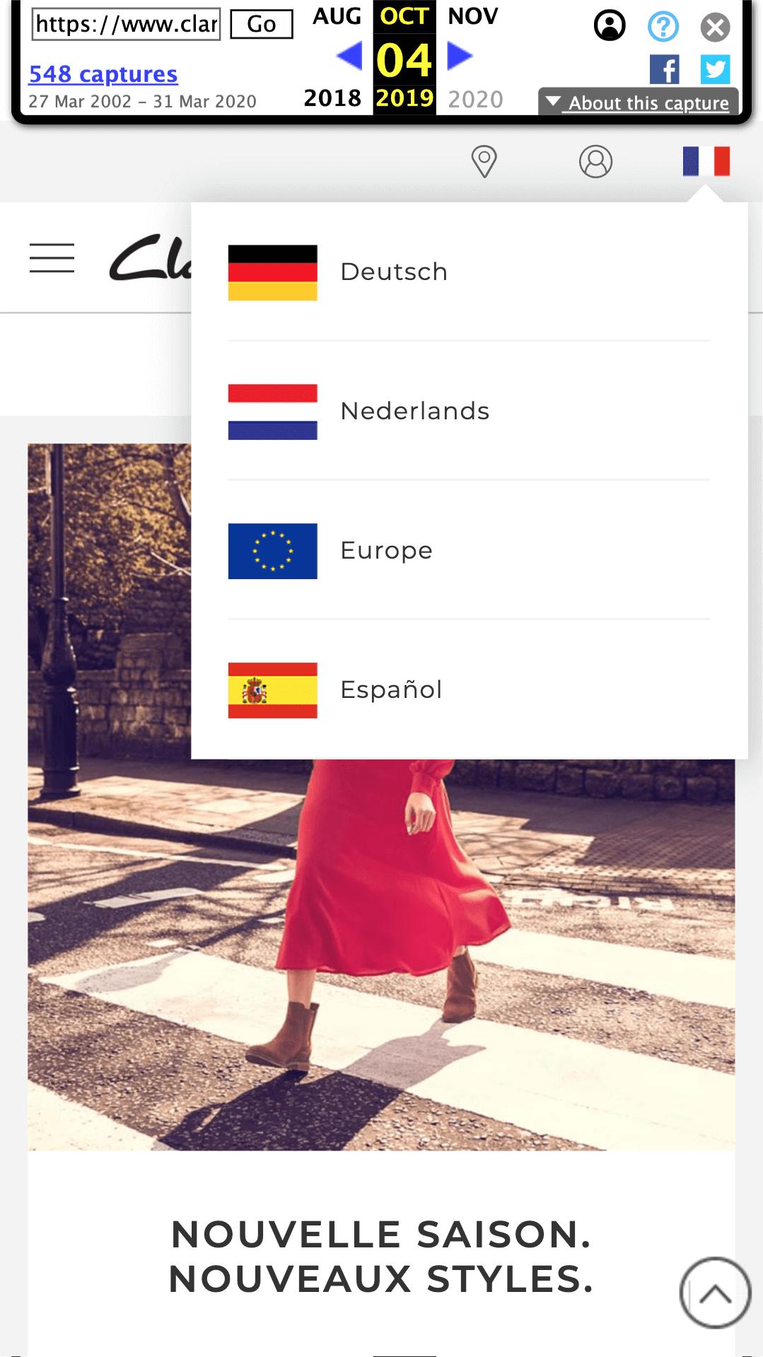 Seleccionar idioma en clarks.fr
