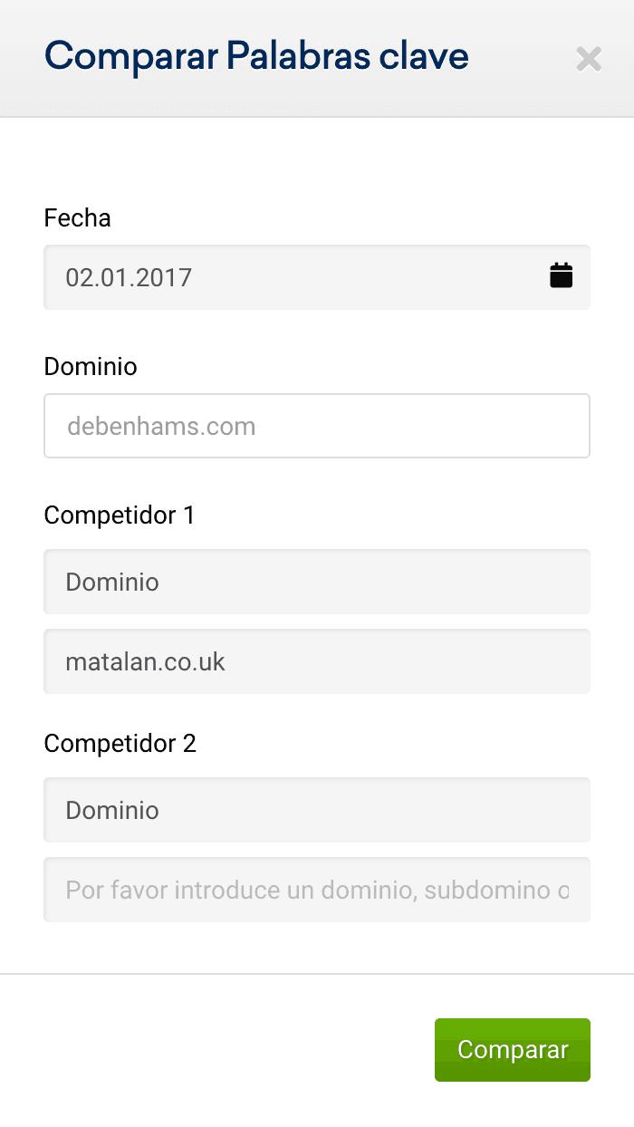 Comparativa de matalan.co.uk y debenhams.com en enero 2017