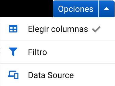 Opciones de tabla de palabras clave en Sistrix