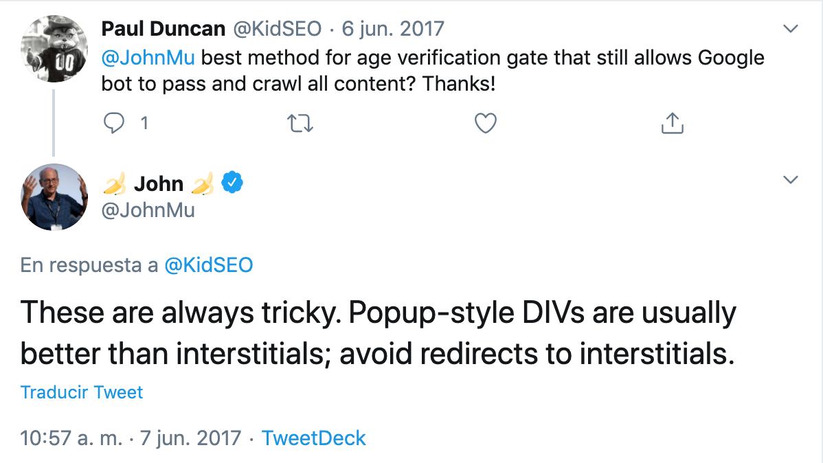Tweet de John Mueller hablando de pop ups