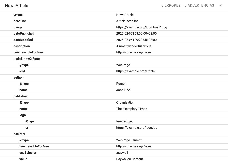 Ejemplo de implementación de Json-Ld para muros de pago