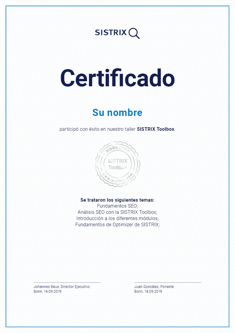 certificado personal de SISTRIX