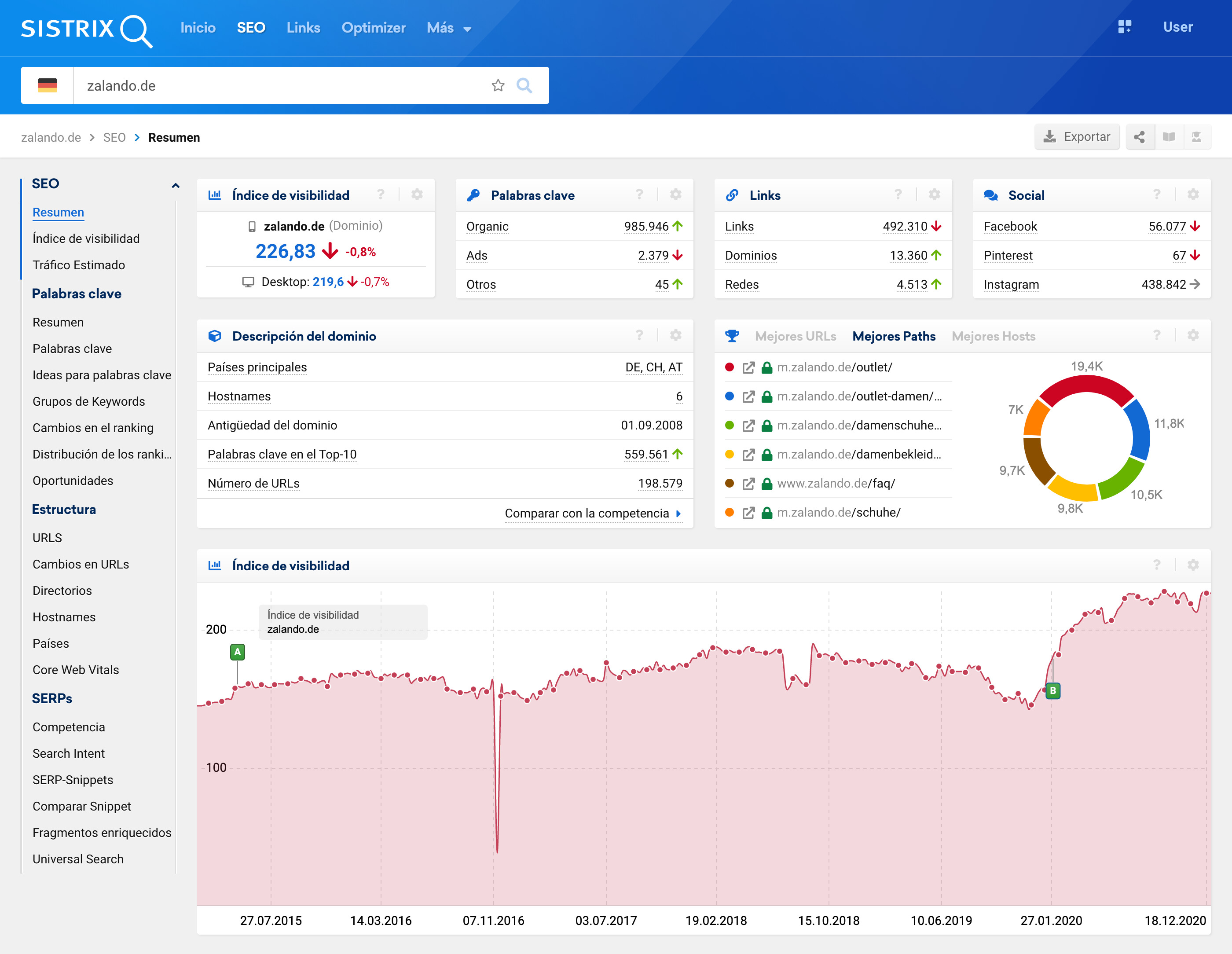 En el recuadro de búsqueda de la herramienta SISTRIX se puede analizar nombres de host individulaes, directorios, URLs o rutas