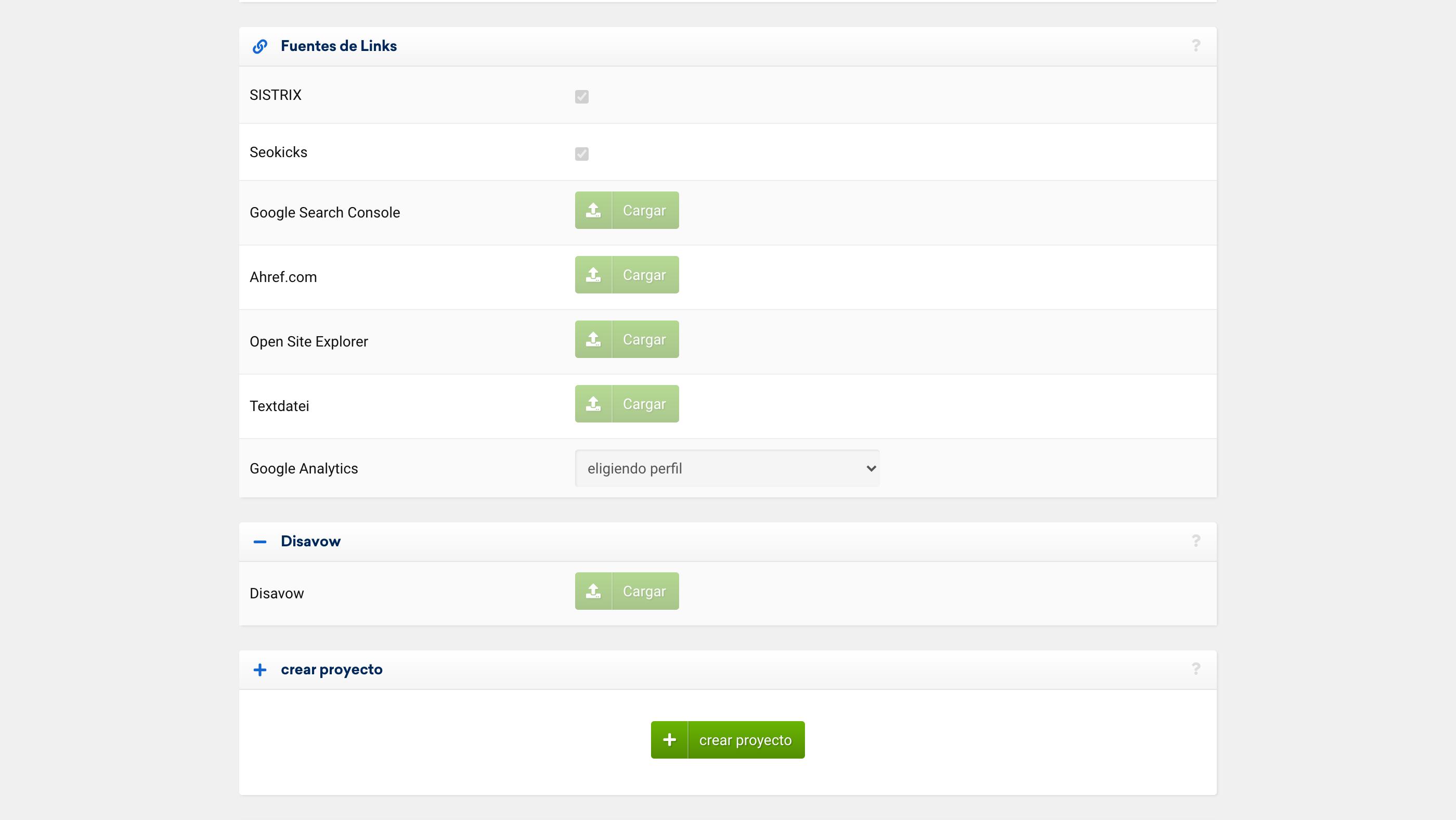 Fuentes de enlaces de un proyecto en LinkRaiting