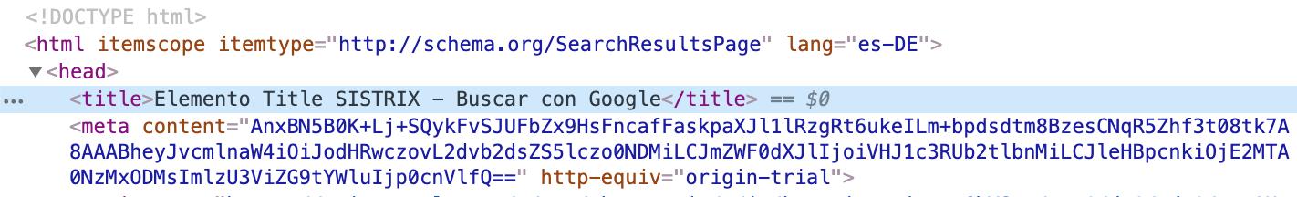 El contenido del elemento título se presenta en las páginas de resultados y es un enlace en el que se puede entrar. También es depositado en el código fuente.