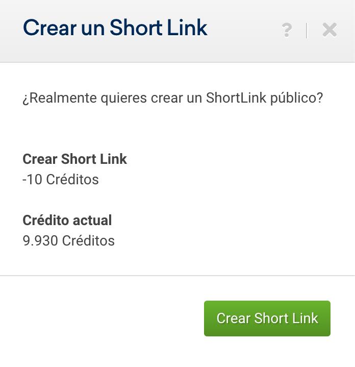 Crear Short Link para el dominio que quieres analizar desde SISTRIX (Créditos)