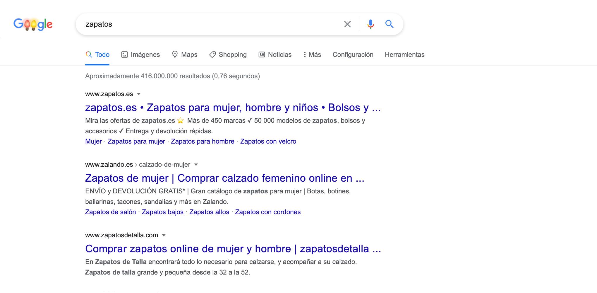 """Para la búsqueda """"zapatos"""" existe un resultado orgánico (el dominio de palabra clave """"zapatodetalla.com"""")"""