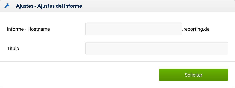 especificar un título para tu archivo, que será mostrado como titular para las páginas de tu archivo de informe SISTRIX