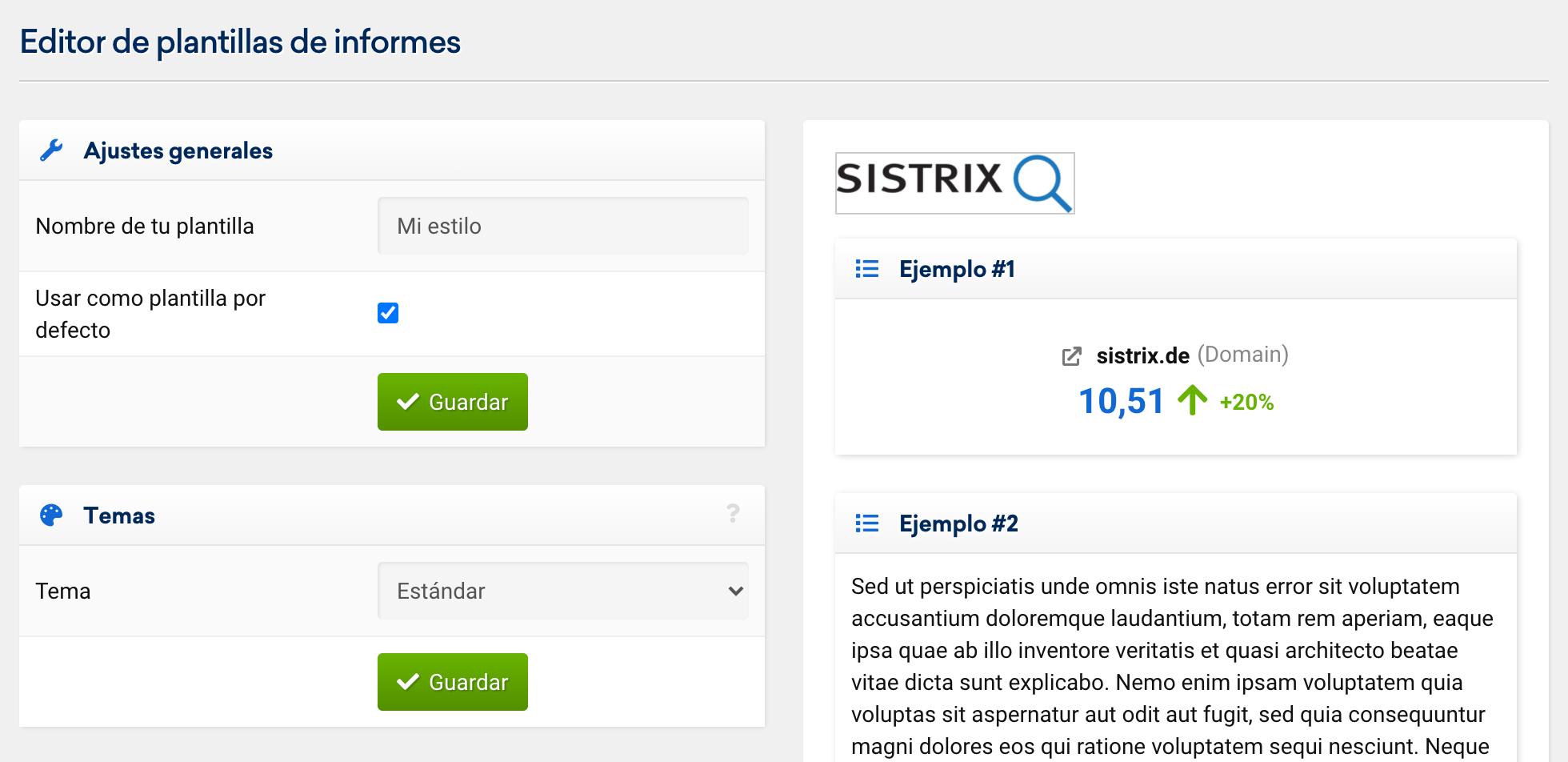 Ajustes generales del informe generado en SISTRIX