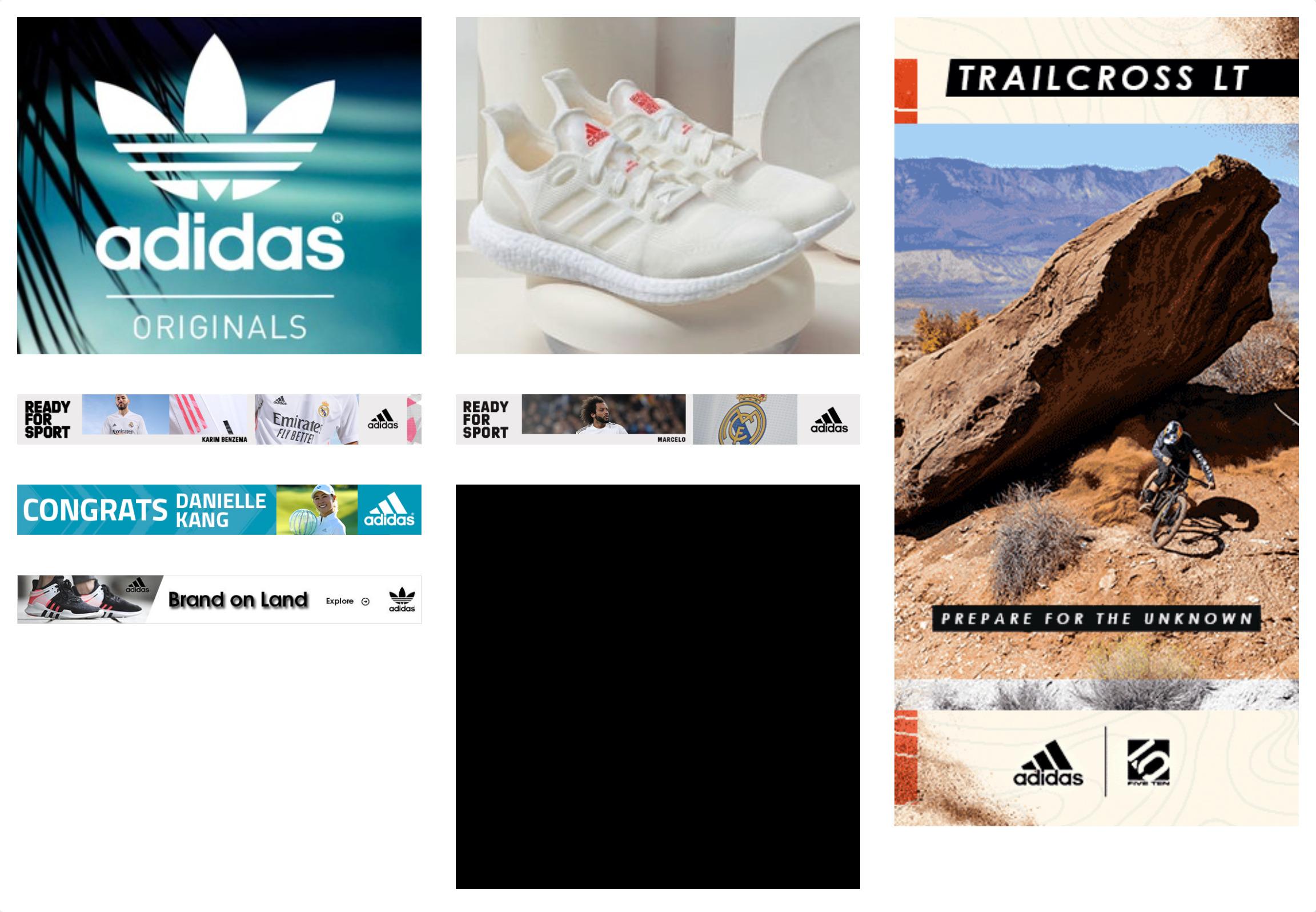 Anuncios banner de Adidas en la herramienta SISTRIX