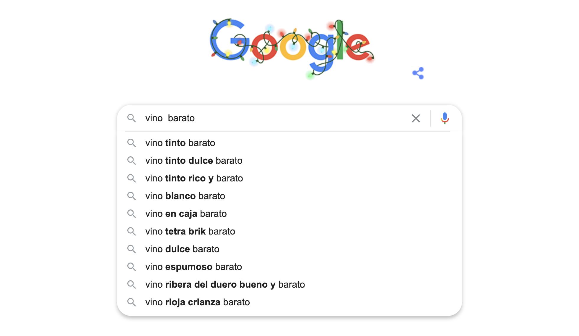 Coloca el cursor de tu ratón entre dos palabras y presiona la barra espaciadora (space), de esta forma, Google Suggest llena esta área con las palabras clave frecuentemente buscadas