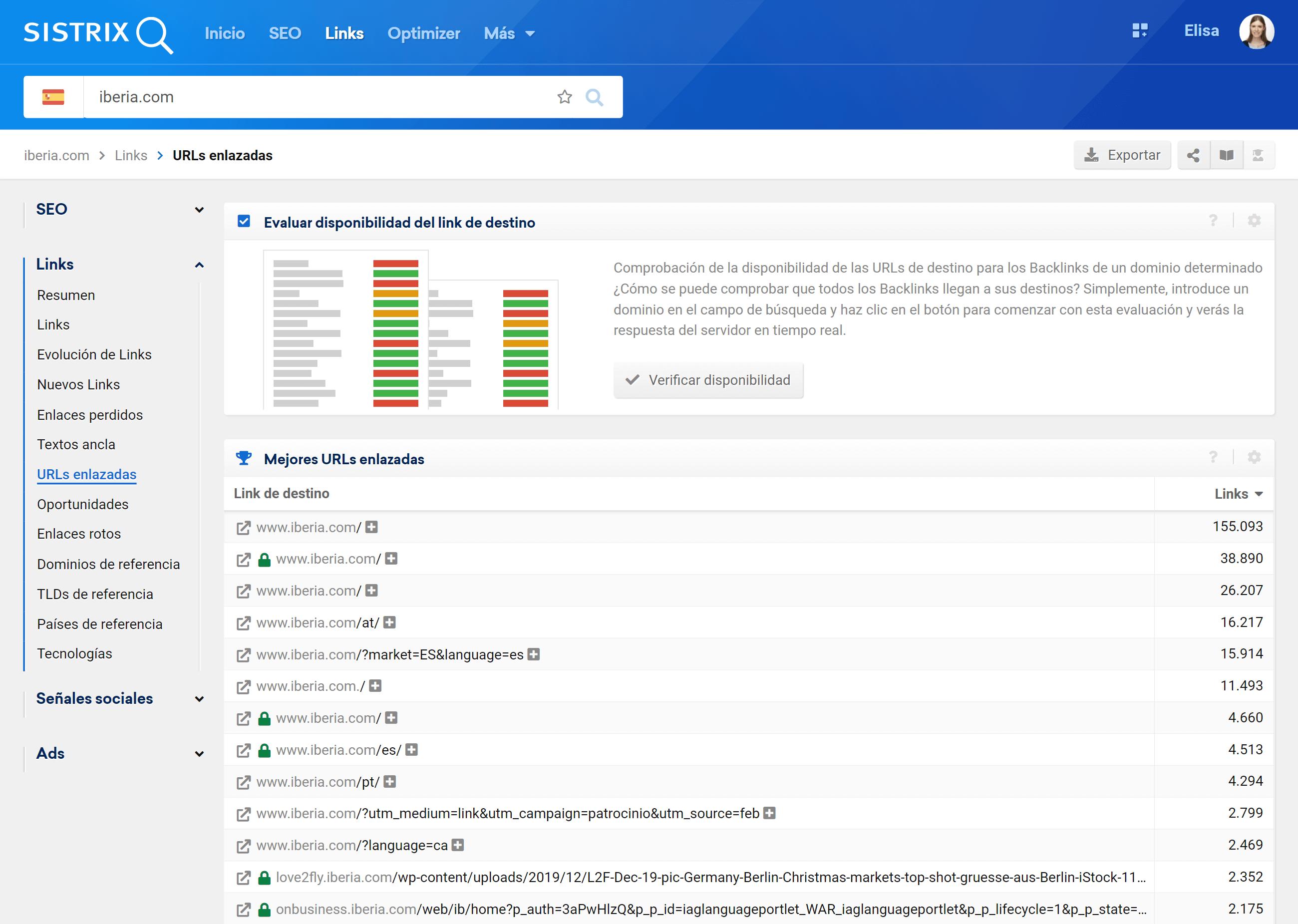 Pasos para el análisis de URLs disponibles en los SERPs de google.es para el dominio iberia.com
