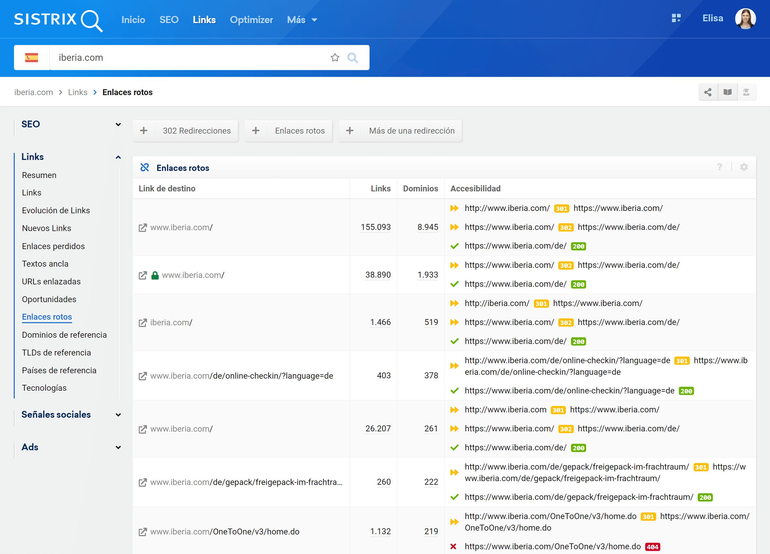 Enlaces rotos del dominio iberia.com en los resultados de búsqueda de google.es- SISTRIX