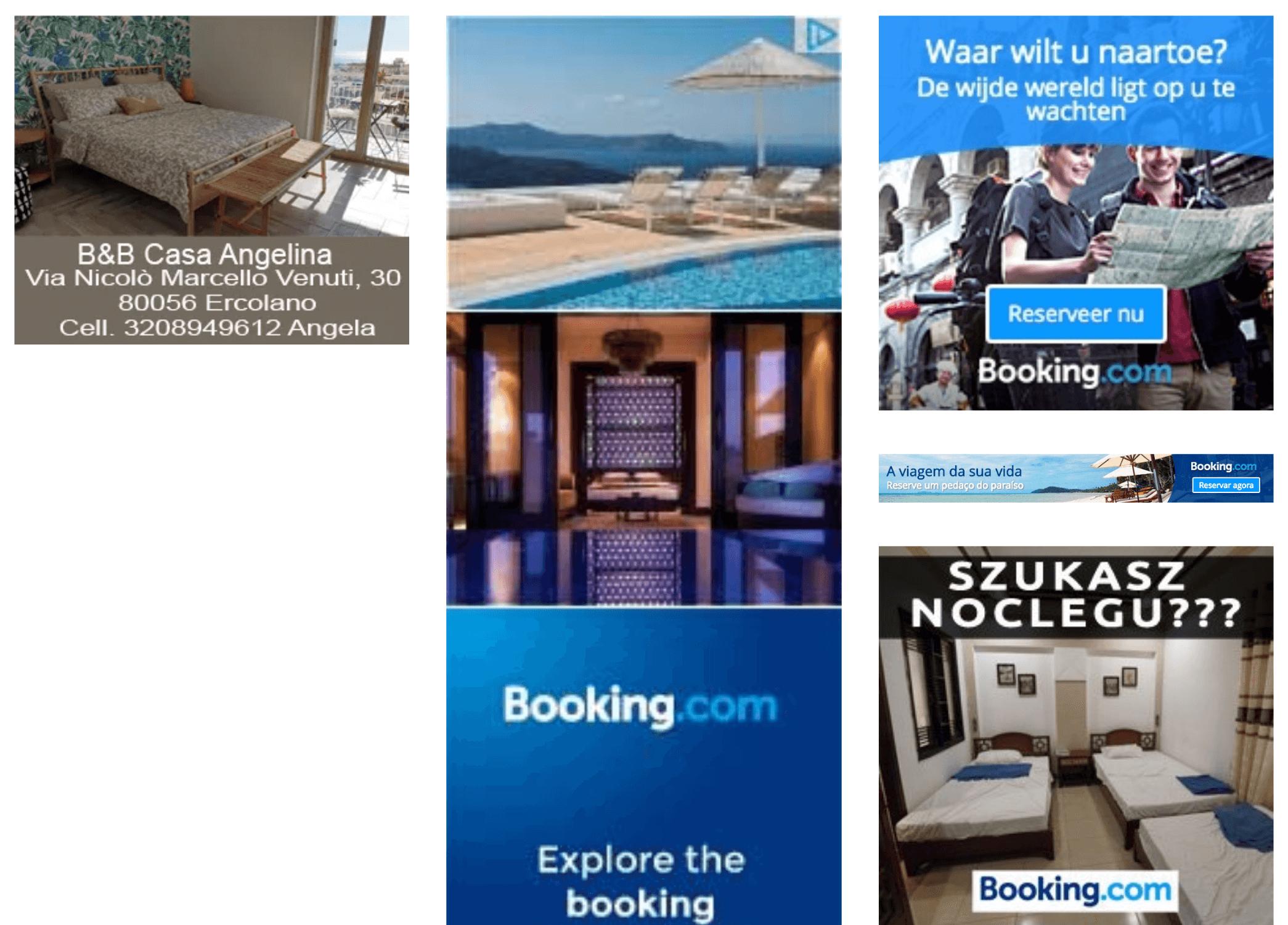 Anuncios banner de Booking en la herramienta SISTRIX