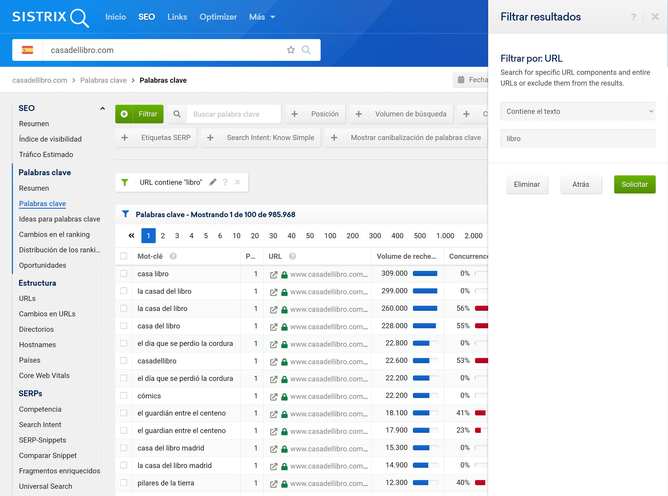 Filtrar resultados por URL