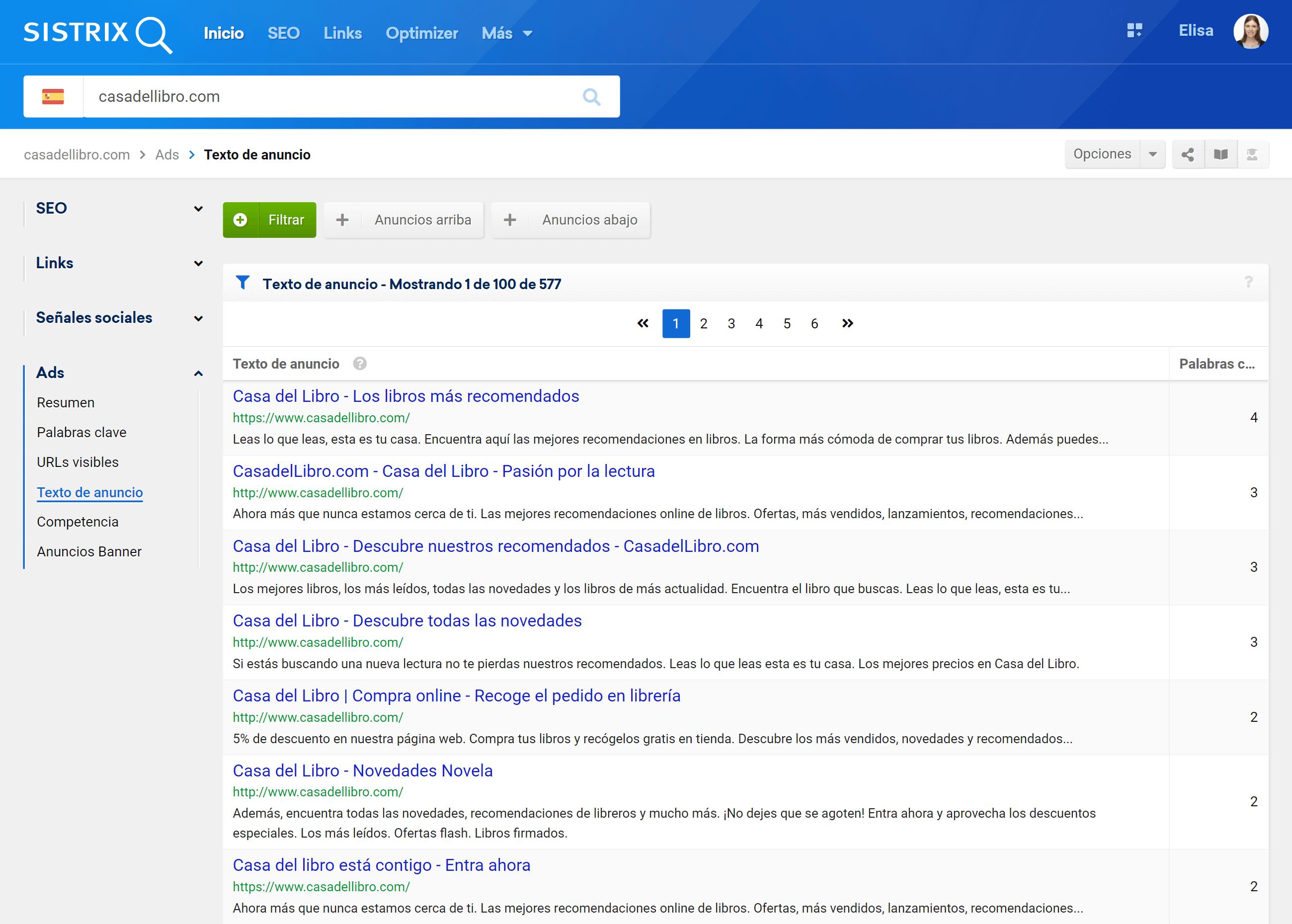 Mostrar todos los anuncios Adwords de la competencia