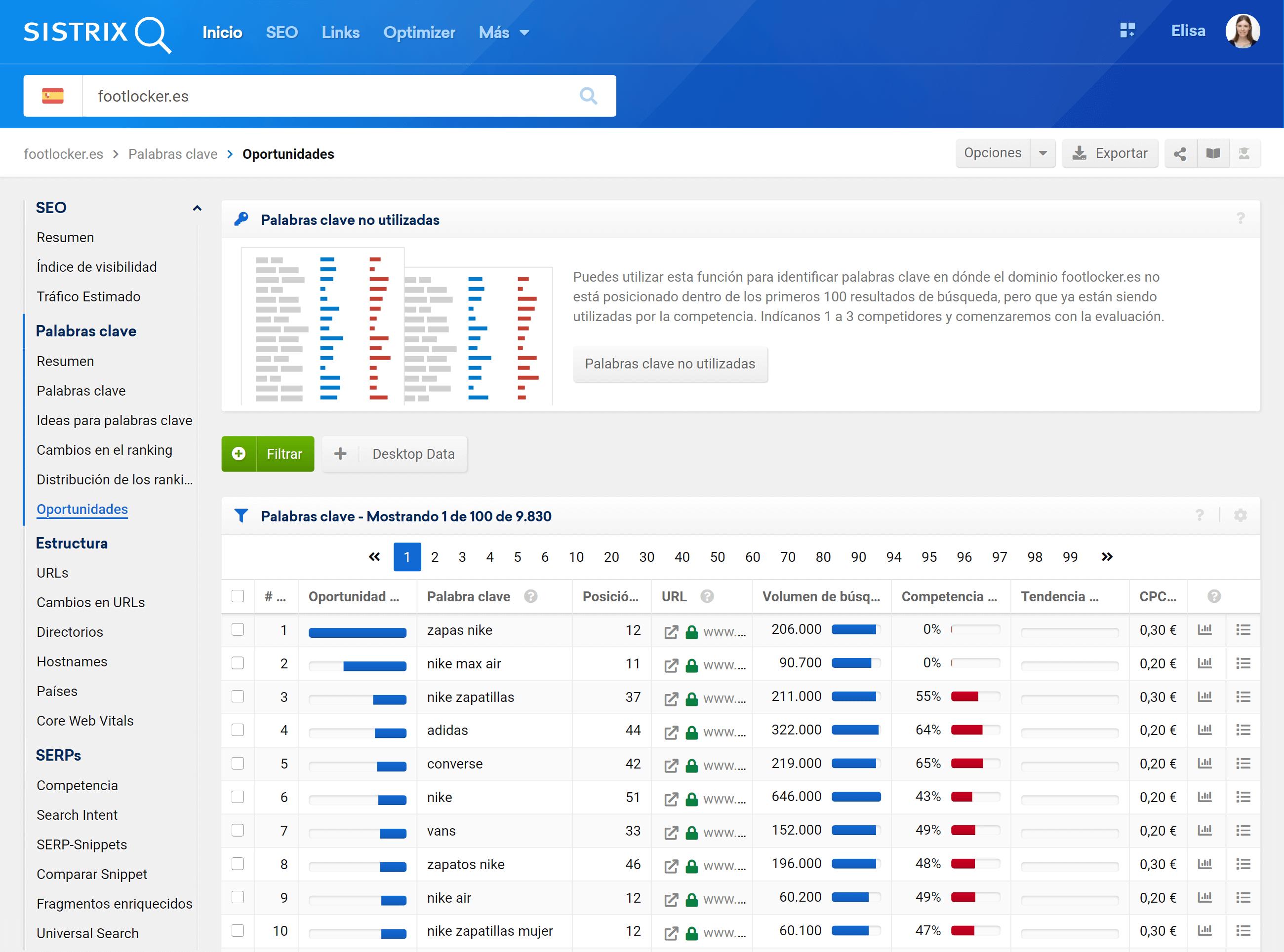 Oportunidades de palabras clave en el módulo SEO de SISTRIX