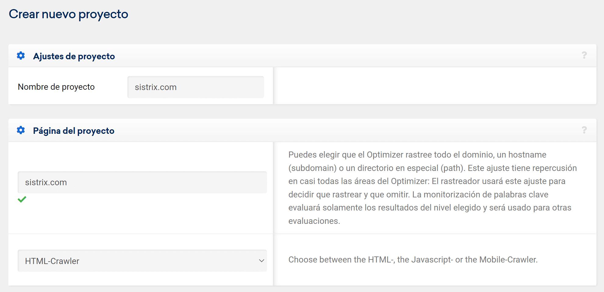 Nombrar proyecto Optimizer de SISTRIX