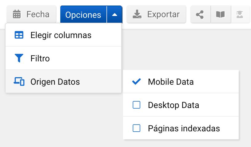Selección de base de datos Mobile en SISTRIX