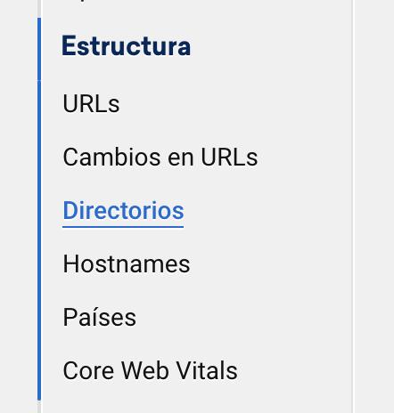 Desplegable de las diferentes opciones del Módulo SEO SISTRIX para seleccionar los diferentes Directorios de un dominio para realizar su análisis