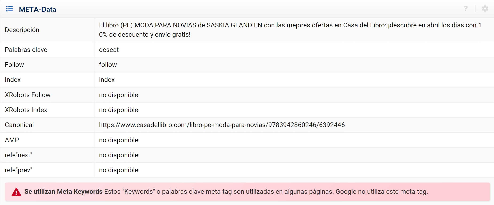 Meta Datos en elMódulo Optimizer SISTRIX