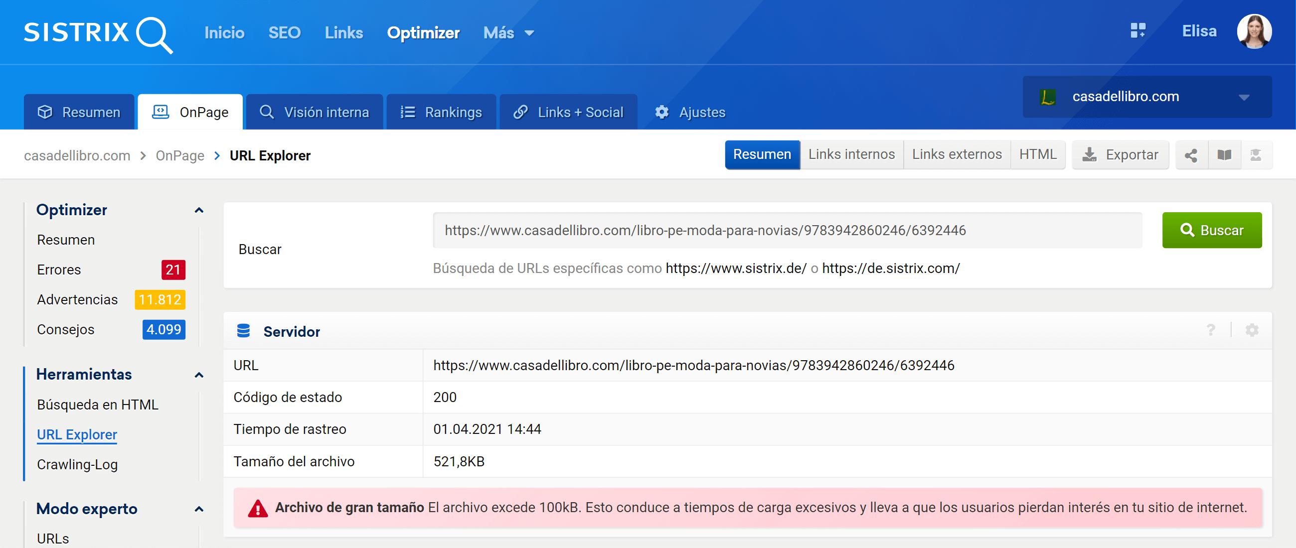 Información General URL en Optimizer SISTRIX