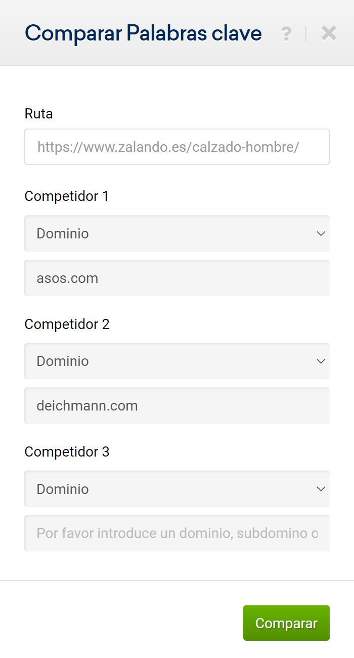 Comando para introducir los competidores para comparar palabras clave